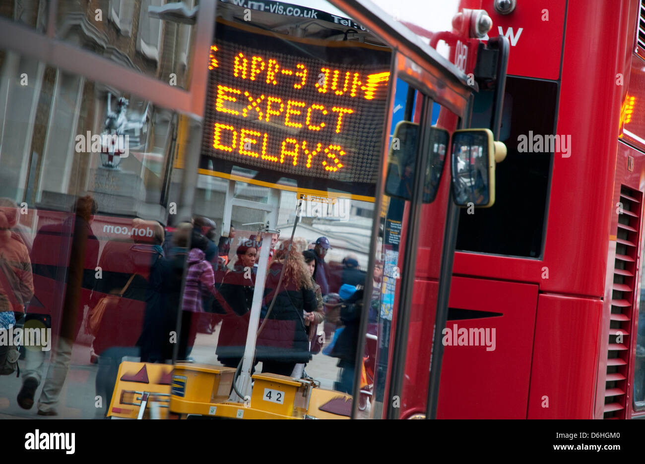 expect delays road sign, london, england - Stock Image