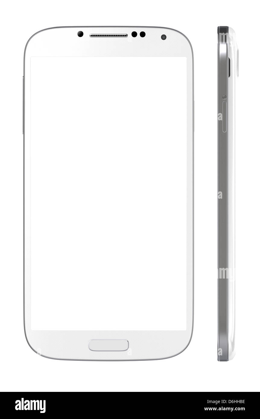 Smart Phone with blank screen isolated on white. Include clipping path for phone and screen - Stock Image