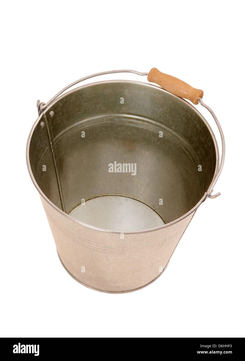 Empty metal bucket - Stock Image