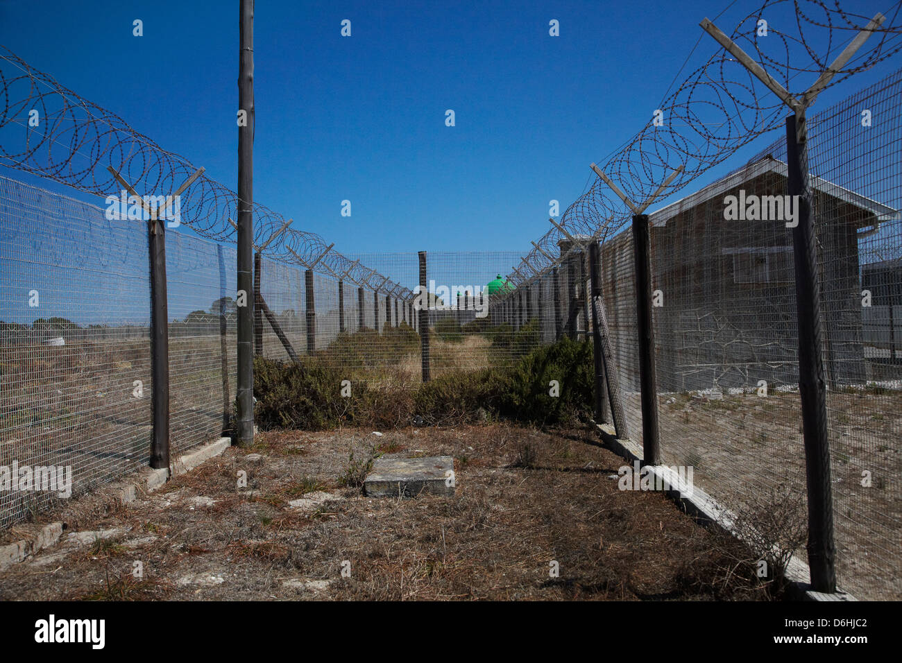 Barbed wire fence, Robben Island Prison, Table Bay, Cape Town, South ...