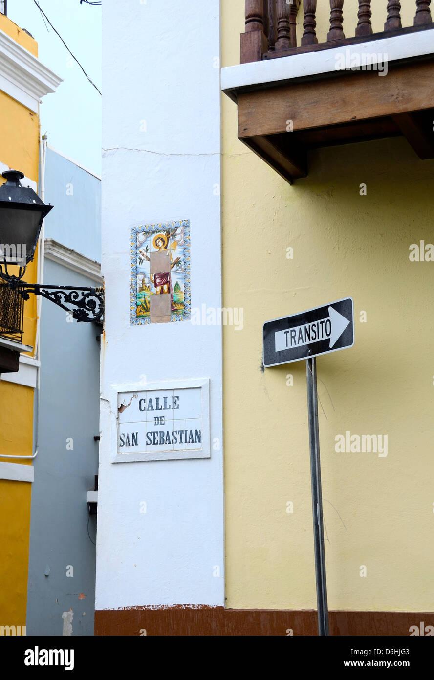 Street signs in Old San Juan, Puerto Rico - Stock Image