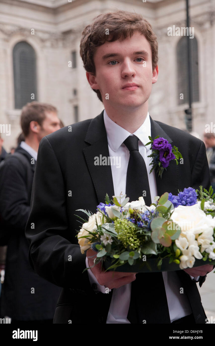 Funeral guest at the funeral of Baroness Thatcher held at St. Paul's Cathedral, London, UK on 17th April 2013. - Stock Image