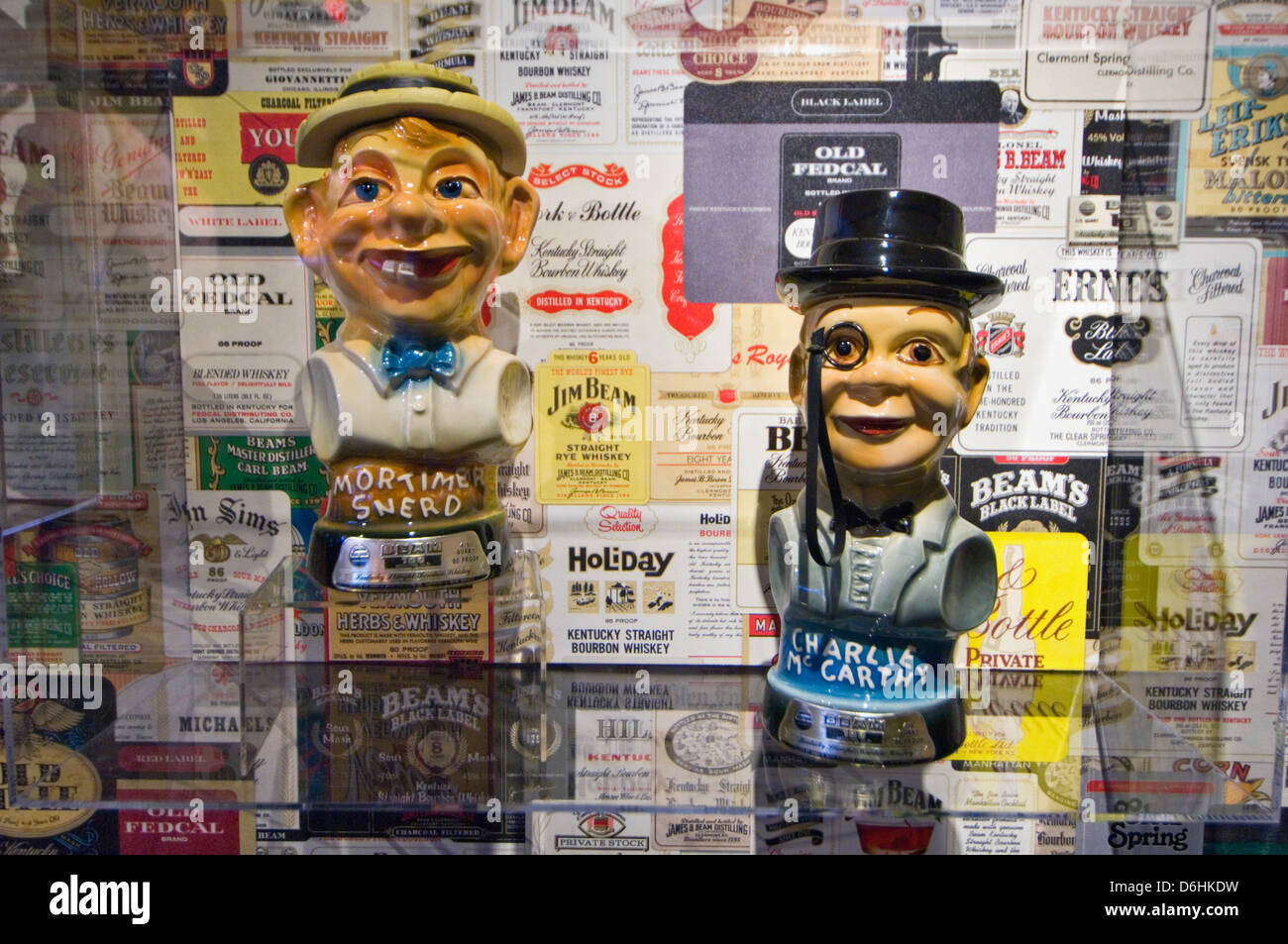 Collectible Mortimer Snerd and Charlie McCarthy Jim Beam Bourbon Decanters on Display at the Jim Beam Distillery - Stock Image