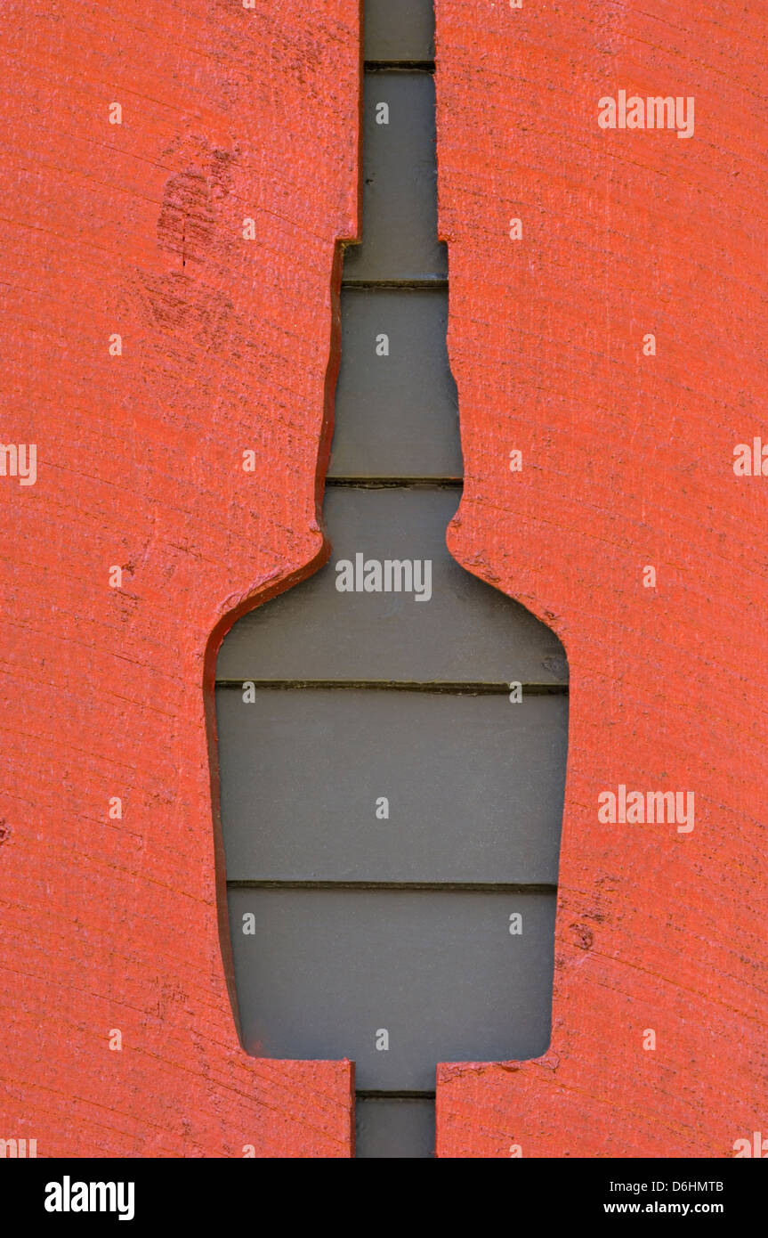 Shutter Cut Out to Look Like a Bourbon Bottle at Maker's Mark Distillery in Loretto, Kentucky - Stock Image
