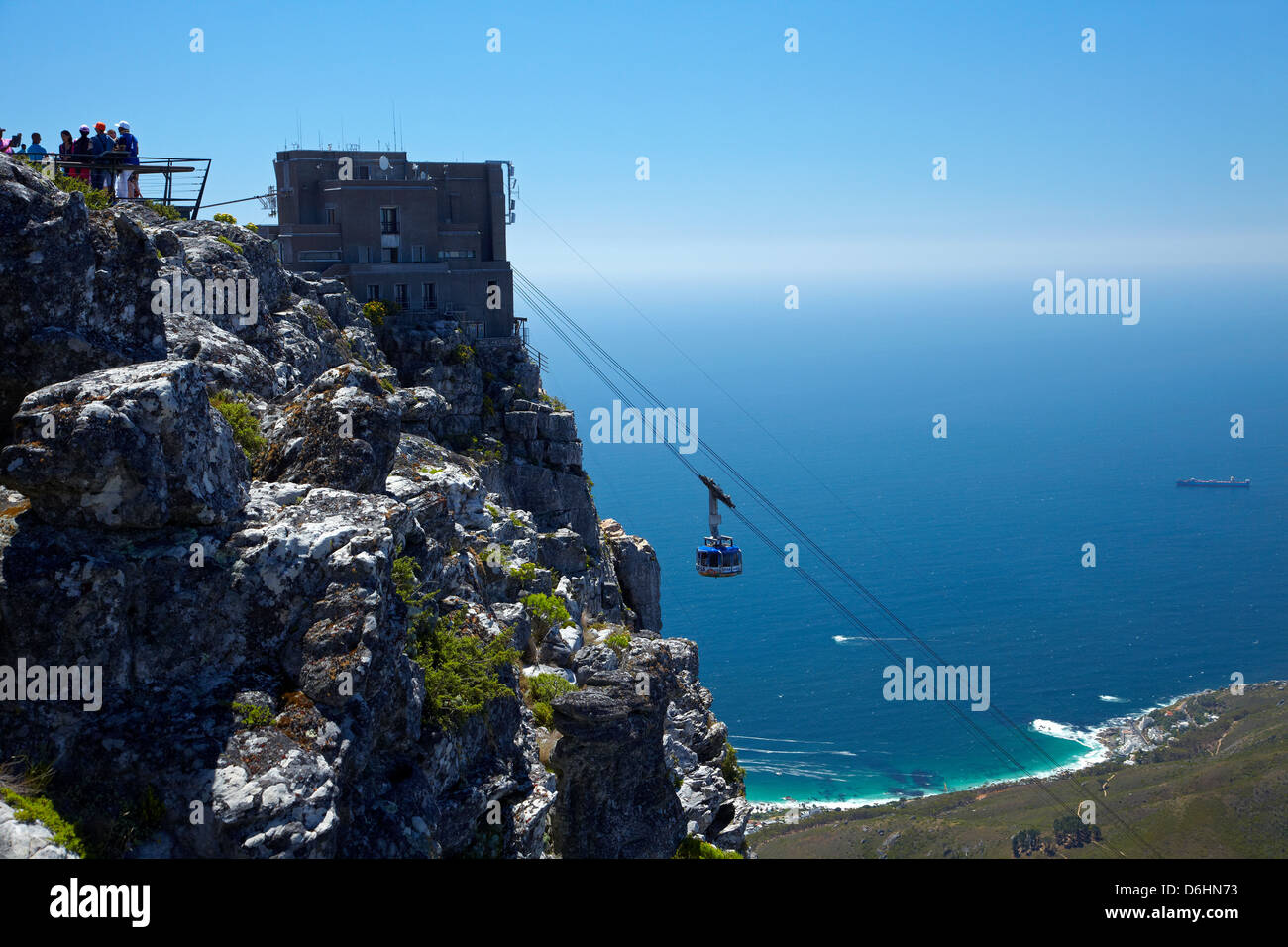 Tourists at viewpoint and Table Mountain Aerial Cableway, Cape Town, South Africa - Stock Image