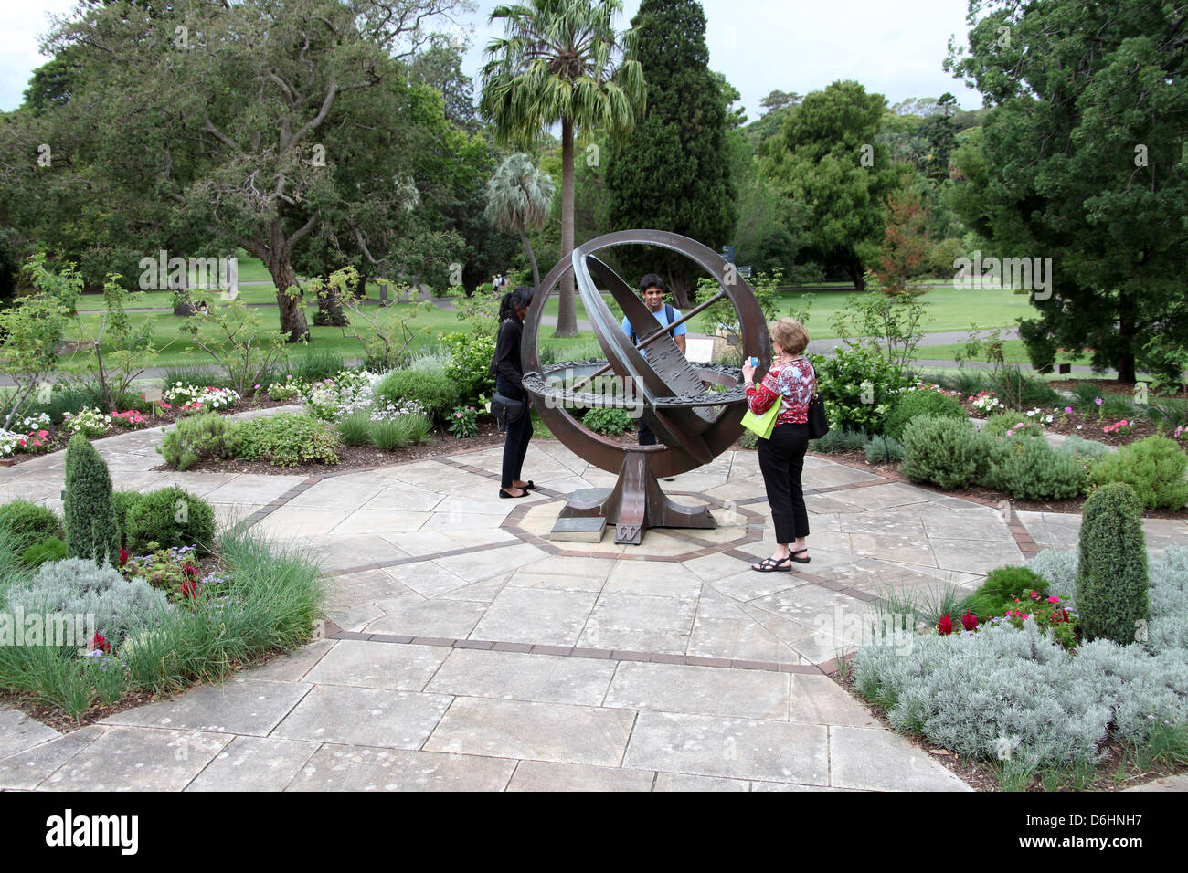 Armillary Sundial In The Herb Garden Of The Royal Botanic Gardens Of Sydney    Stock Image