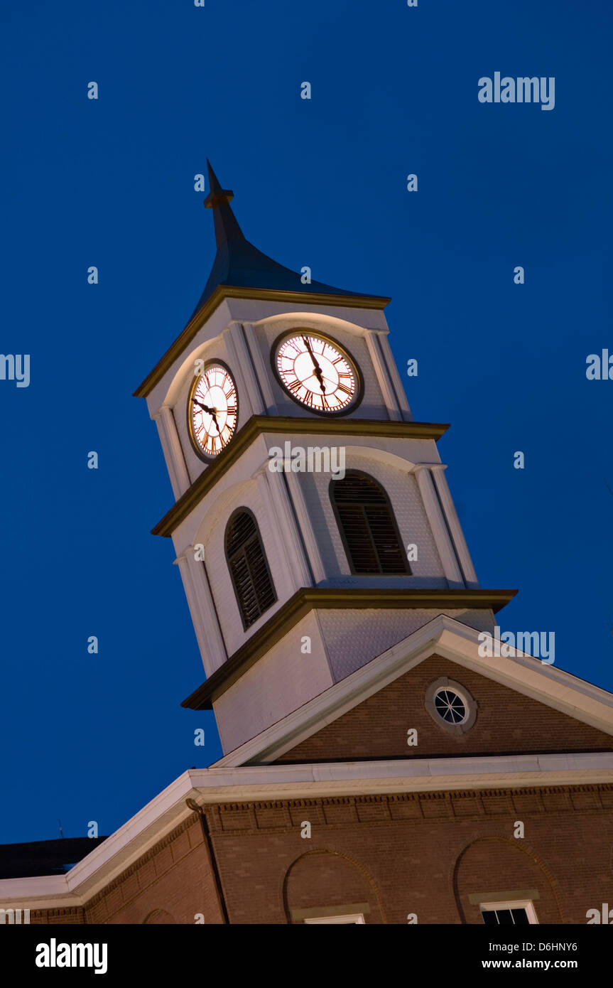 Ripley County Indiana Courthouse Clock Tower at Twilight - Stock Image