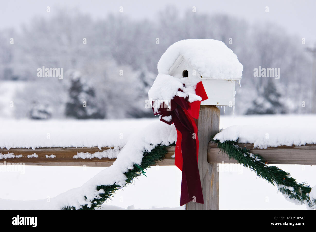 Bird House on Fence Post in the Snow Decorated for Christmas near Starlight, Indiana - Stock Image
