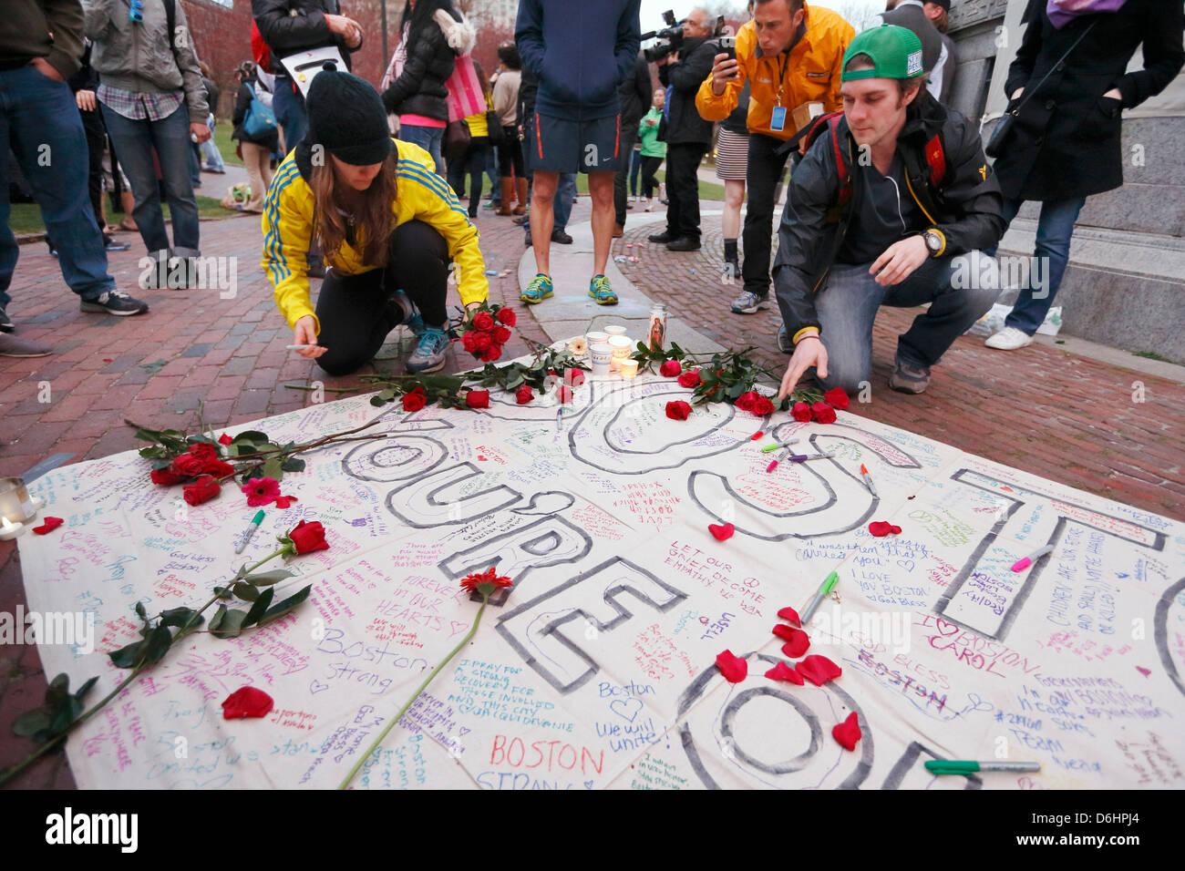 Candlelight vigil on Boston Common  following explosions at the finish line of the Boston Marathon - Stock Image