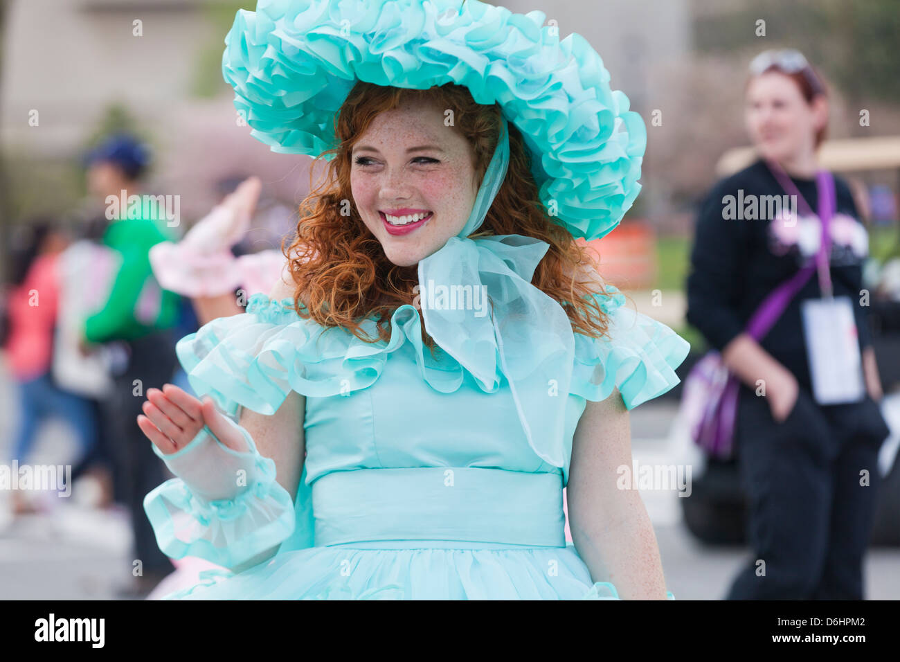 Young freckled girl wearing southern belle costume - USA - Stock Image