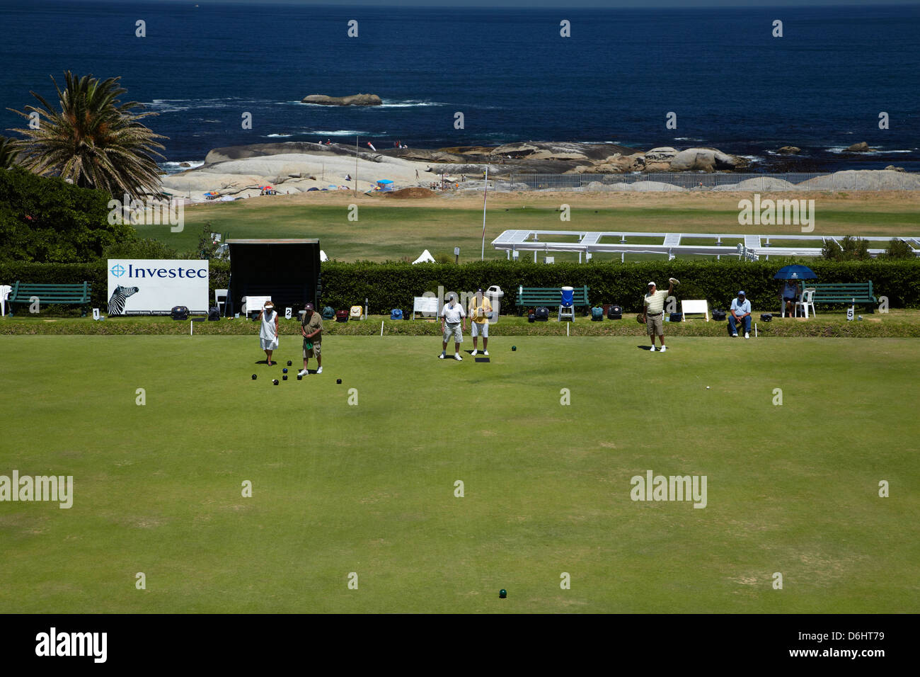 Lawn bowls, Clifton, Cape Town, South Africa - Stock Image