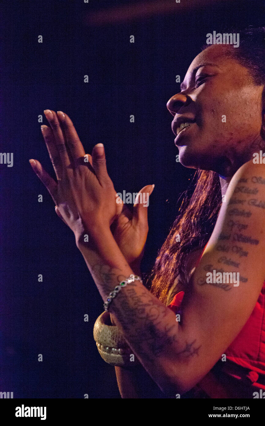 London, UK. 18 April 2013. The outstanding flamenco singer Buika, performing at the Union Chapel in Islington, part - Stock Image
