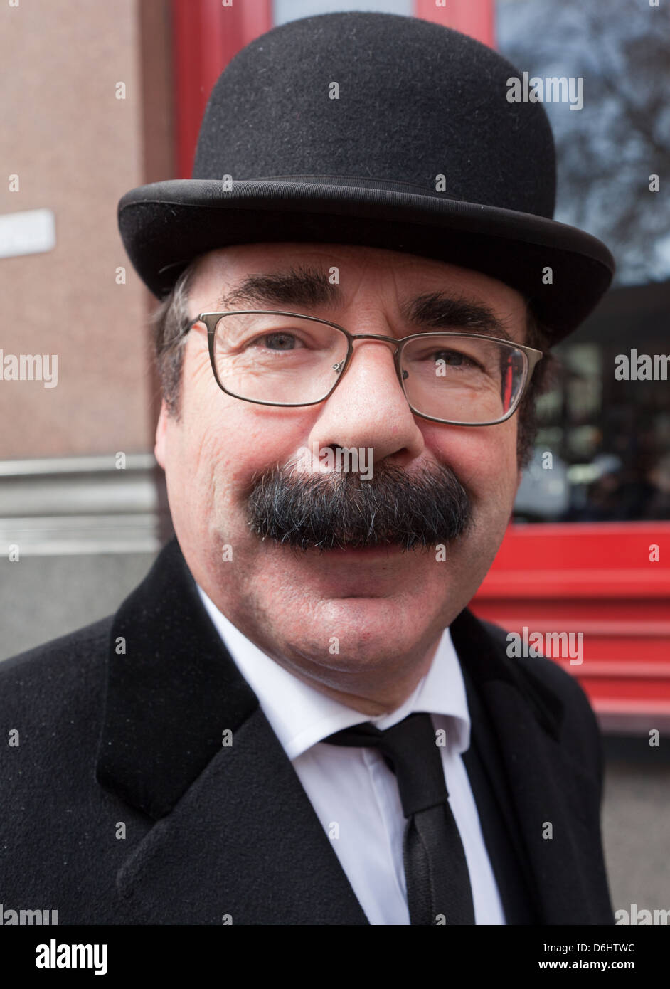 Traditional City Gent In Bowler Hat London UK - Stock Image