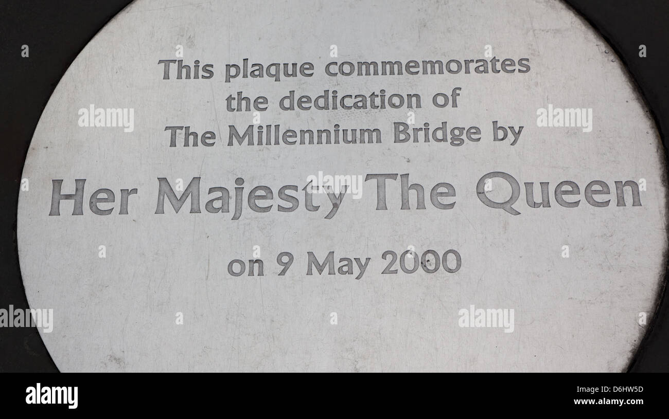 Dedication Plaque For the Millennium Bridge Her Majesty The Queen London UK - Stock Image