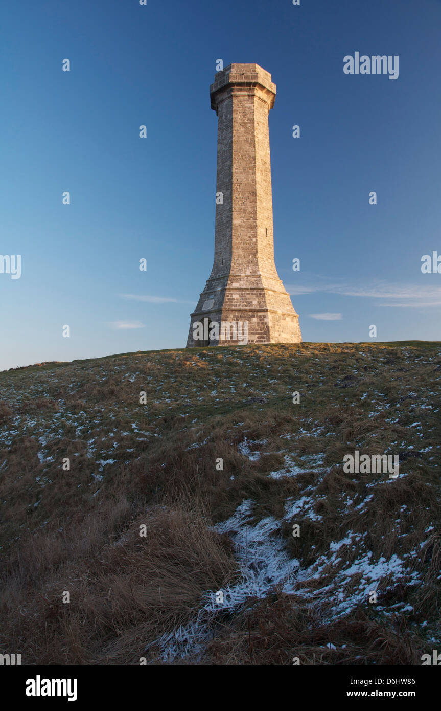 The Hardy Monument in winter. A memorial to Vice Admiral Sir Thomas Hardy who served with Nelson at the Battle of - Stock Image