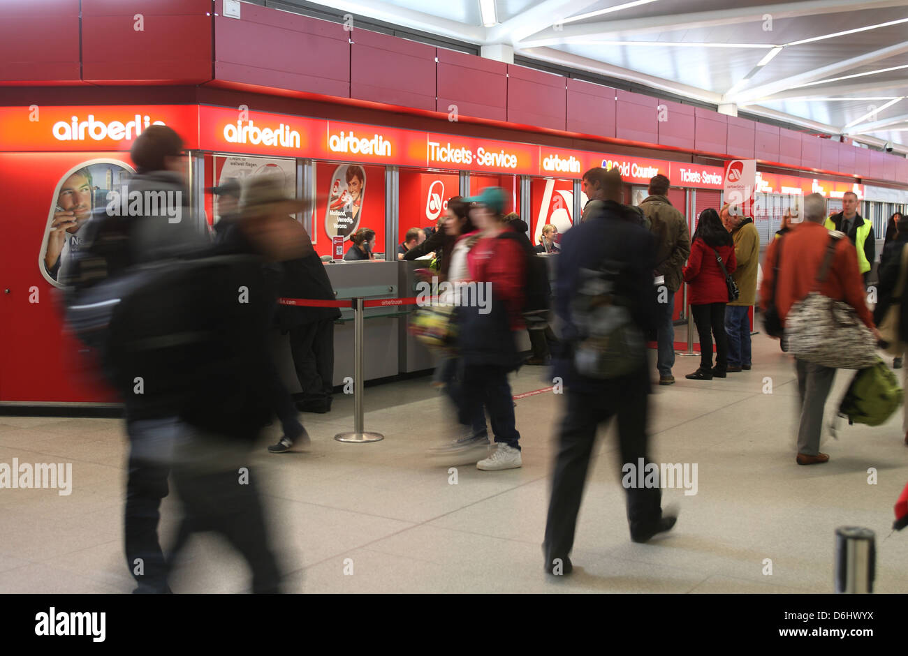 Berlin, Germany, the counters of Air Berlin Tegel Airport - Stock Image