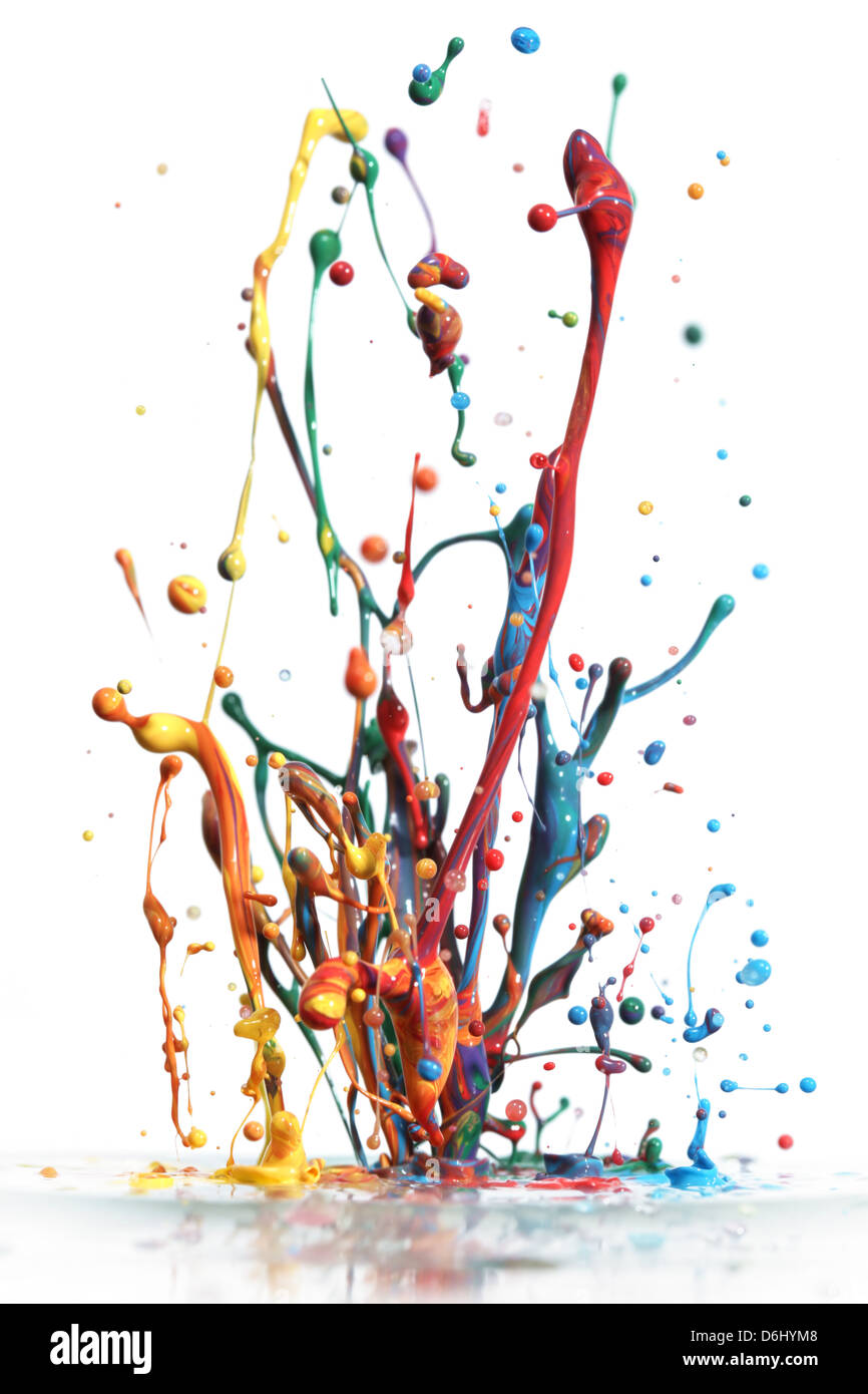 Colorful paint splashing isolated on white - Stock Image