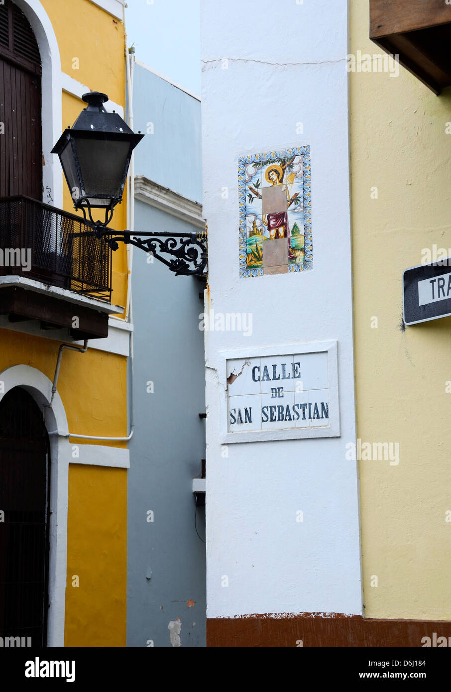 Lamp post and street signs in Old San Juan, Puerto Rico - Stock Image
