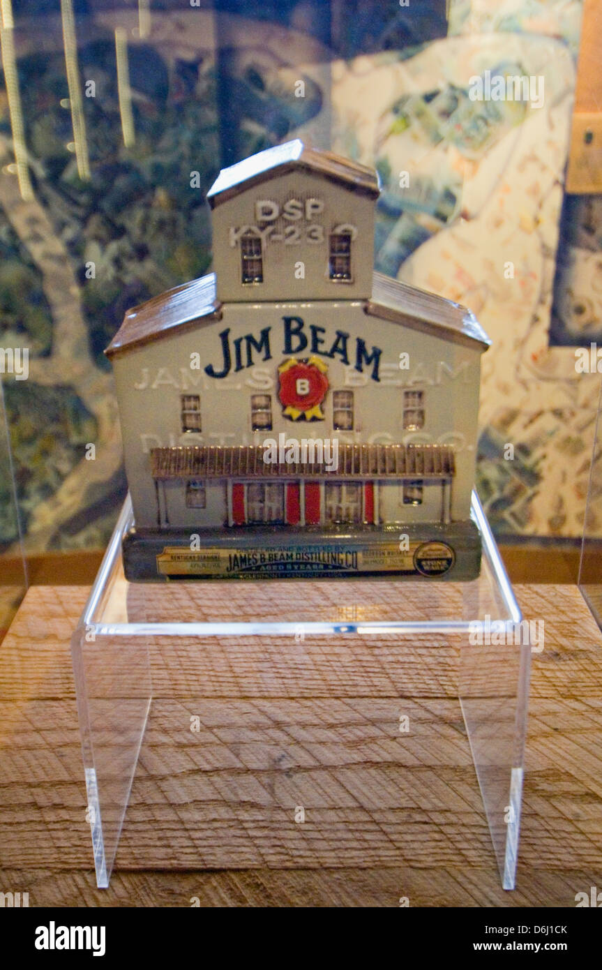 Collectible American Stillhouse Jim Beam Bourbon Decanter on Display at the Jim Beam Distillery in Clermont, Kentucky - Stock Image