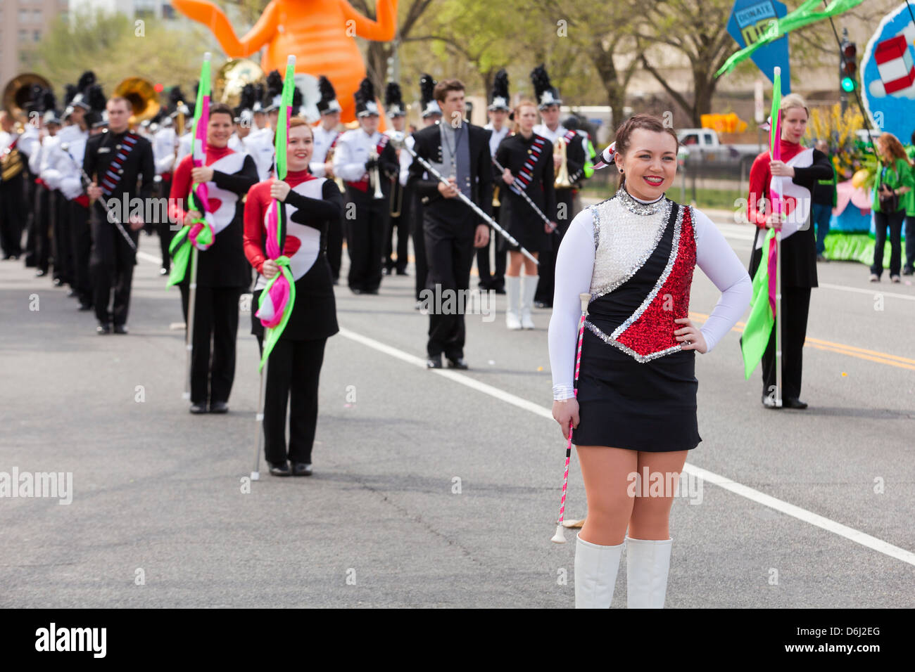Baton twirler in high school band - Washington, DC USA - Stock Image
