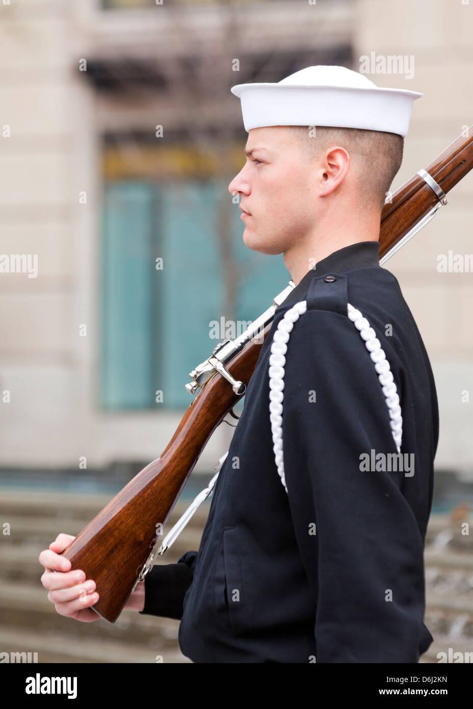 US Navy Ceremonial guard - Stock Image