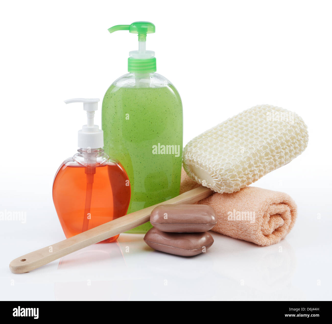 different kind of toiletries on white background - Stock Image