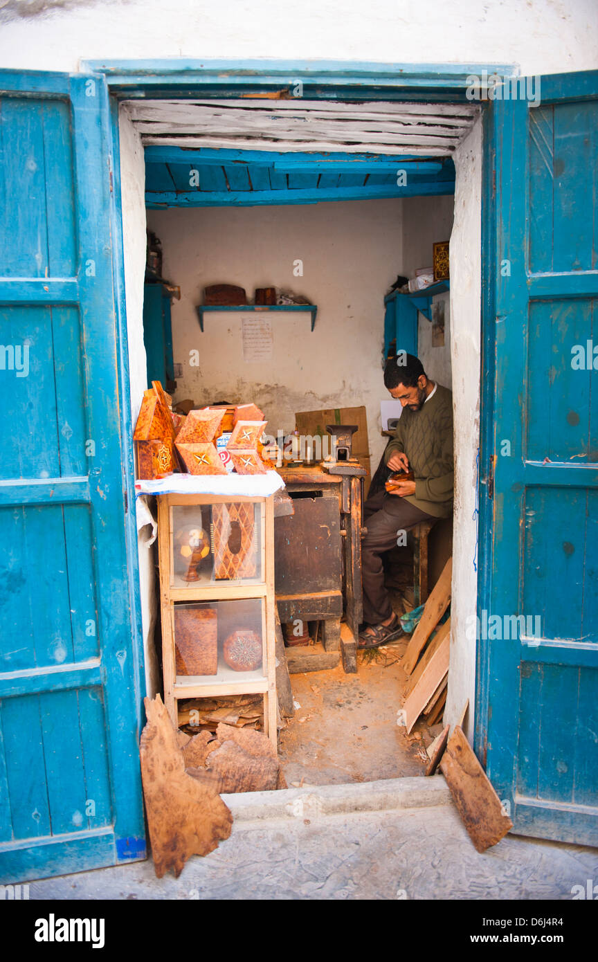 Carpenter in Old Medina, Essaouira, formerly Mogador, UNESCO World Heritage Site, Morocco, North Africa, Africa Stock Photo