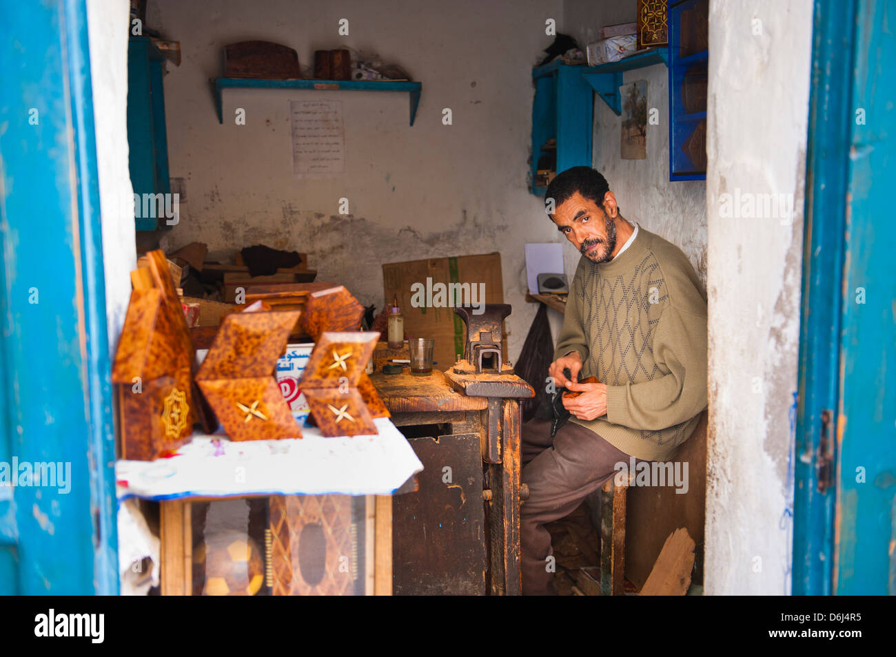 Portrait of a carpenter in the Old Medina, Essaouira, formerly Mogador, UNESCO World Heritage Site, Morocco, North - Stock Image