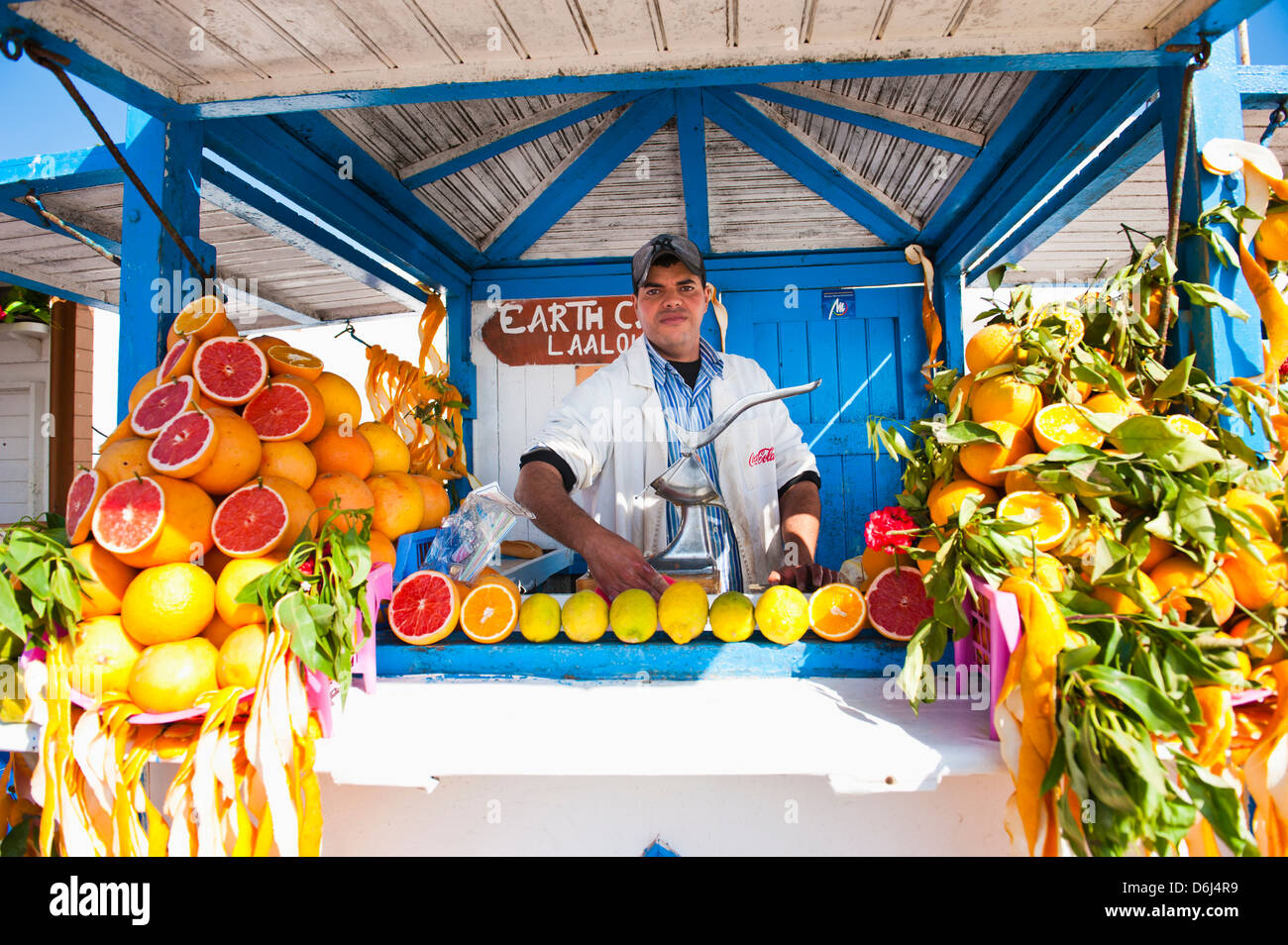 Fresh orange juice vendor, Essaouira, formerly Mogador, Morocco, North Africa, Africa - Stock Image