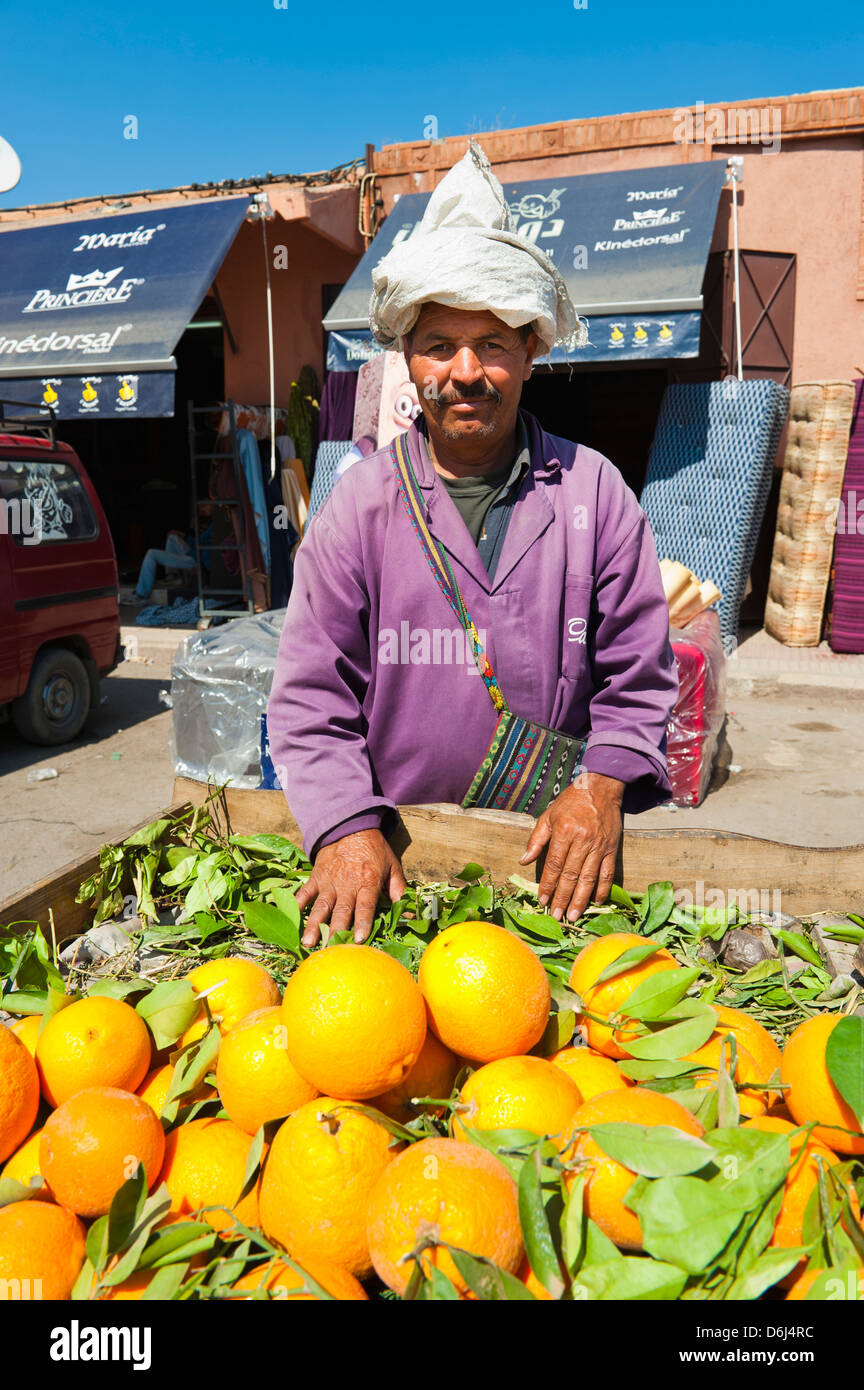 Orange seller, Marrakech (Marrakesh), Morocco, North Africa, Africa - Stock Image
