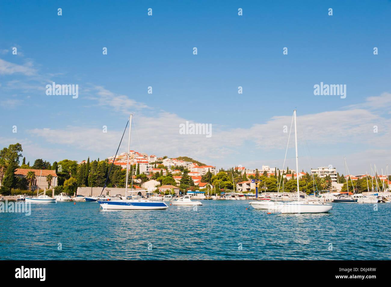 Sailing boats at Kolocep Island (Kalamota), Elaphiti Islands, Dalmatian Coast, Adriatic Sea, Croatia, Europe - Stock Image
