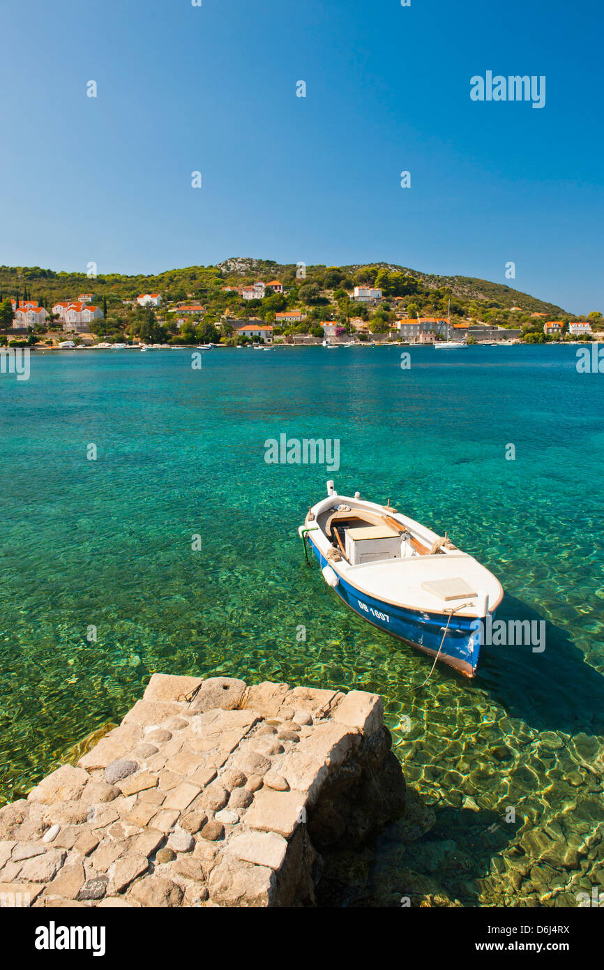 Fishing boat, Kolocep Island, Elaphiti Islands (Elaphites), Dalmatian Coast, Adriatic Sea, Croatia, Europe - Stock Image