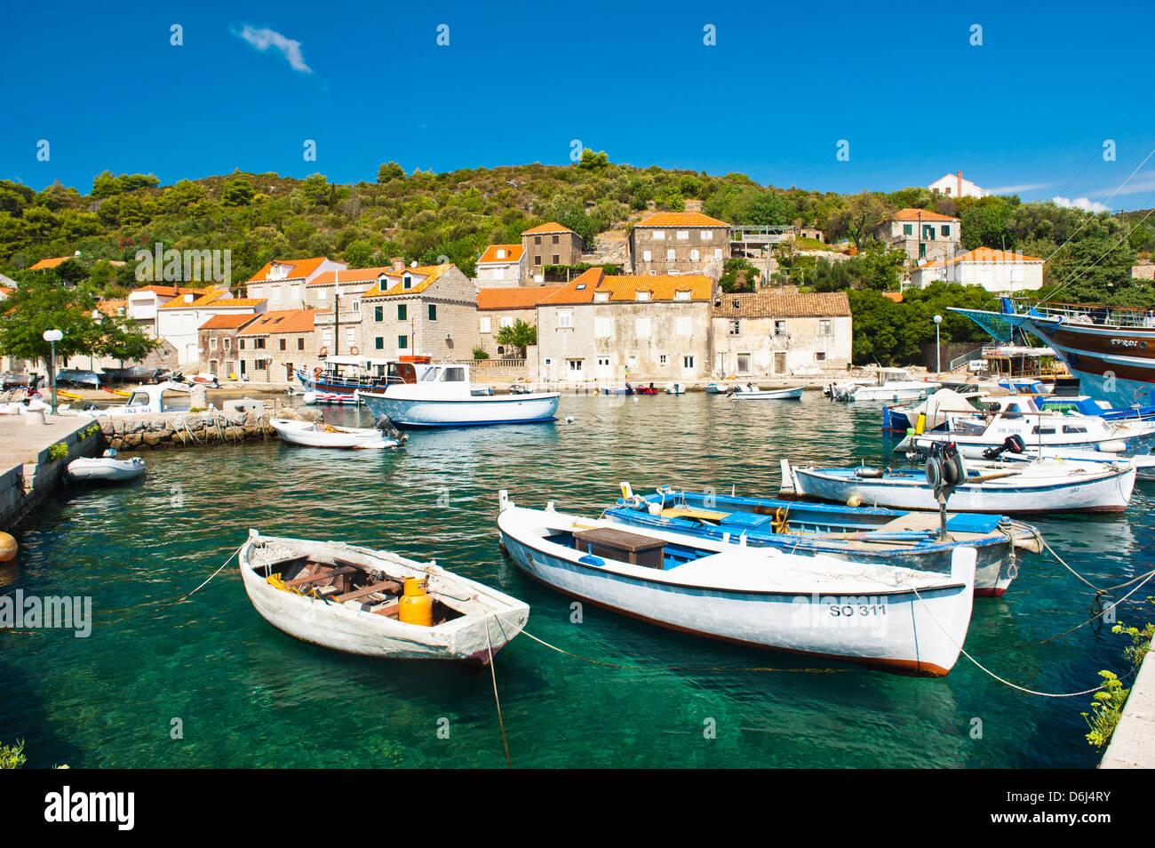 Boats in the port, Sipan Island, Elaphiti Islands, Dalmatian Coast, Adriatic, Croatia, Europe - Stock Image