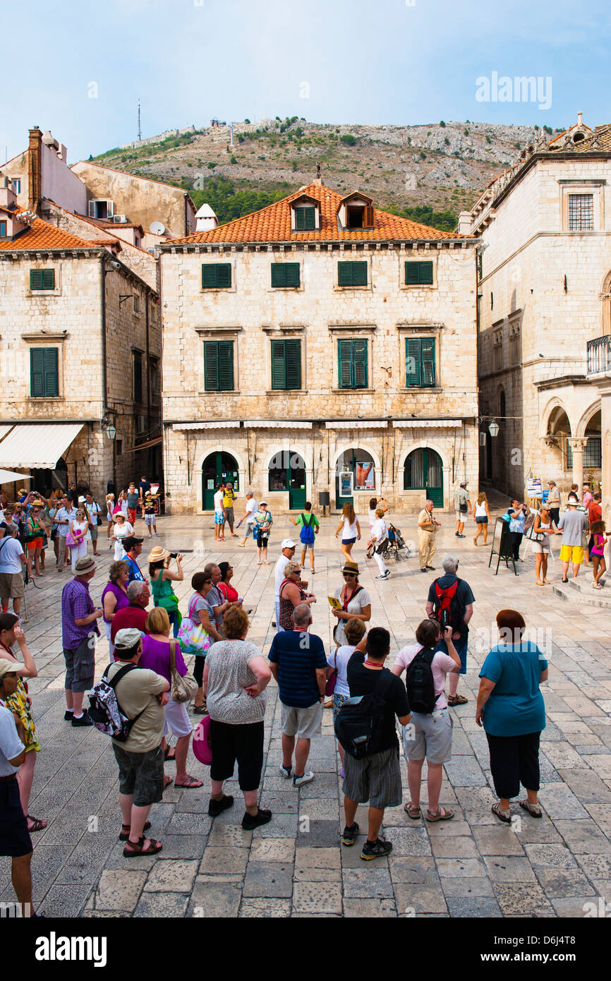 Dubrovnik city tour in Luza Square, Dubrovnik Old Town, UNESCO World Heritage Site, Dubrovnik, Croatia, Europe - Stock Image