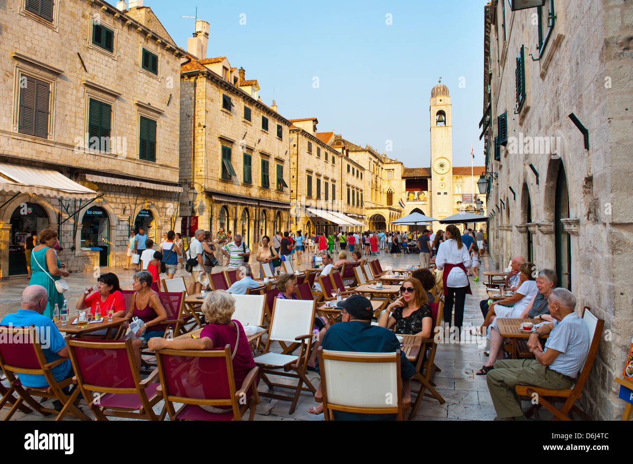 Stradun, the famous street in Dubrovnik, by the City Bell Tower, Old Town, UNESCO Site, Dubrovnik, Dalmatia, Croatia - Stock Image
