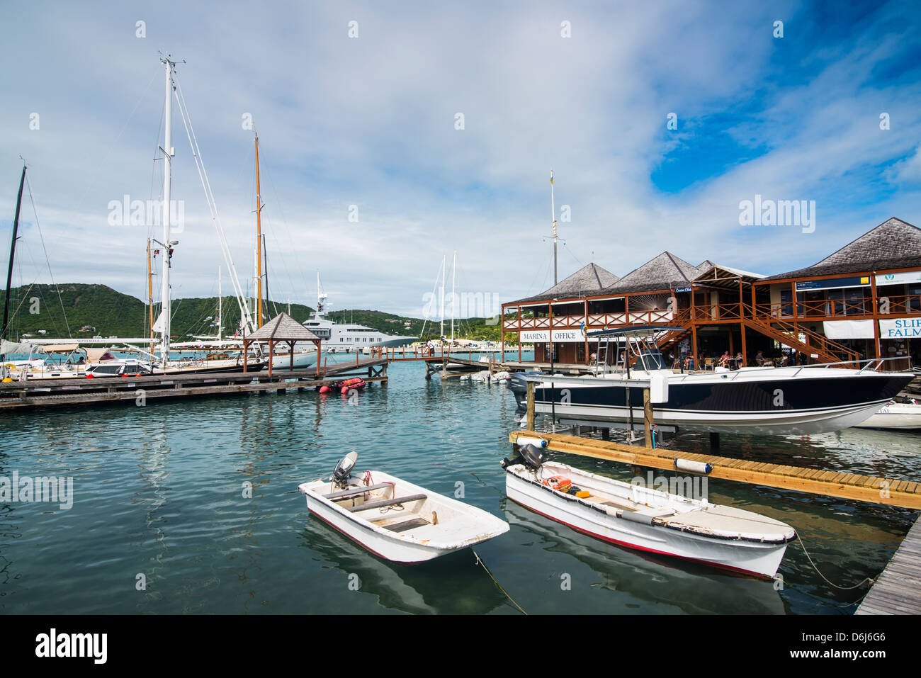 Sailing boats in the Falmouth Harbour, Antigua, Antigua and Barbuda, West Indies, Caribbean, Central America - Stock Image