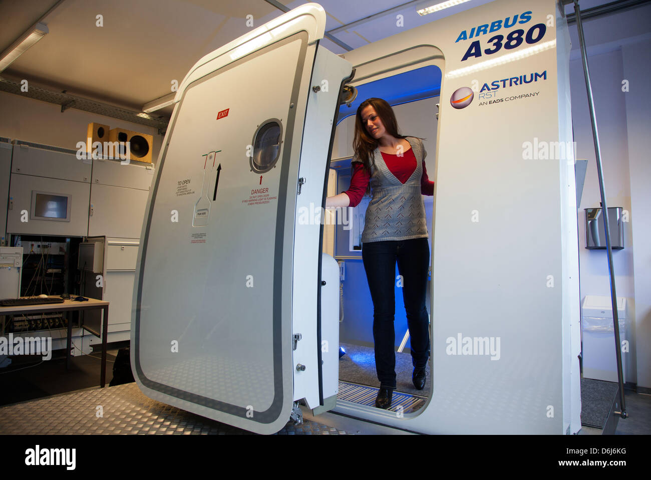 Systems Engineer Katrin Gutt Works At A Door Simulator For An Airbus A380  Aircraft On The Premises Of The German System Technique Company RST Rostock  ...