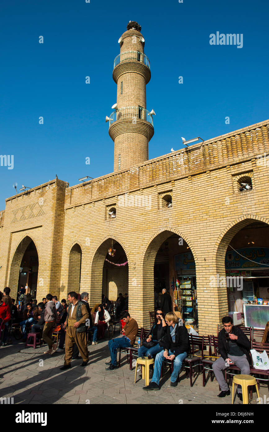 Huge square with below the citadel of Erbil (Hawler), capital of Iraq Kurdistan, Iraq, Middle East - Stock Image
