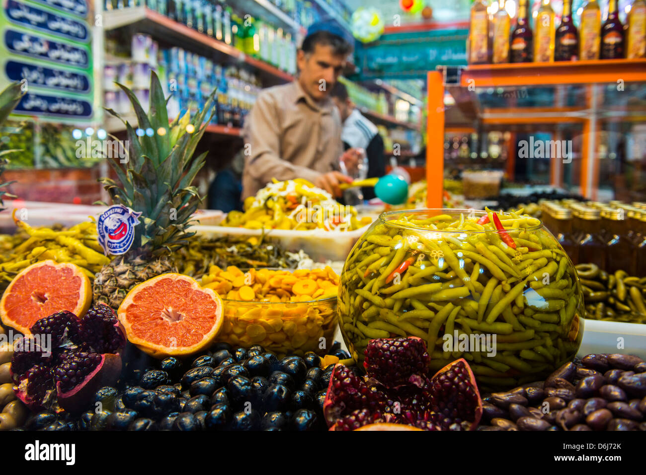 Kurdish food in the Bazaar of Sulaymaniyah, Iraq Kurdistan, Iraq, Middle East - Stock Image