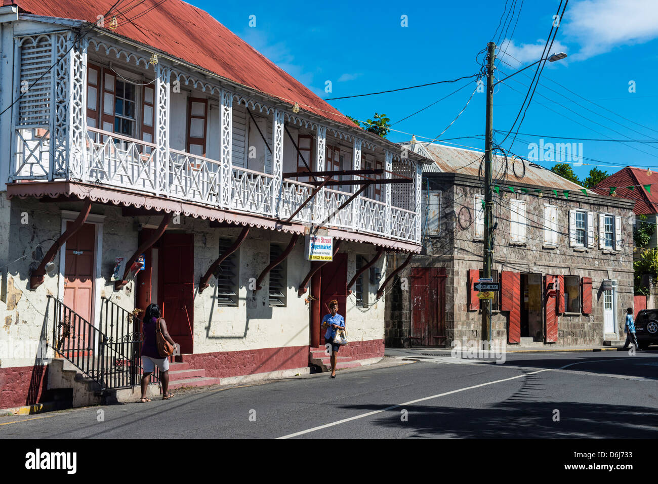 Downtown Charlestown, capital of Nevis Island, St. Kitts and Nevis, Leeward Islands, West Indies, Caribbean, Central - Stock Image