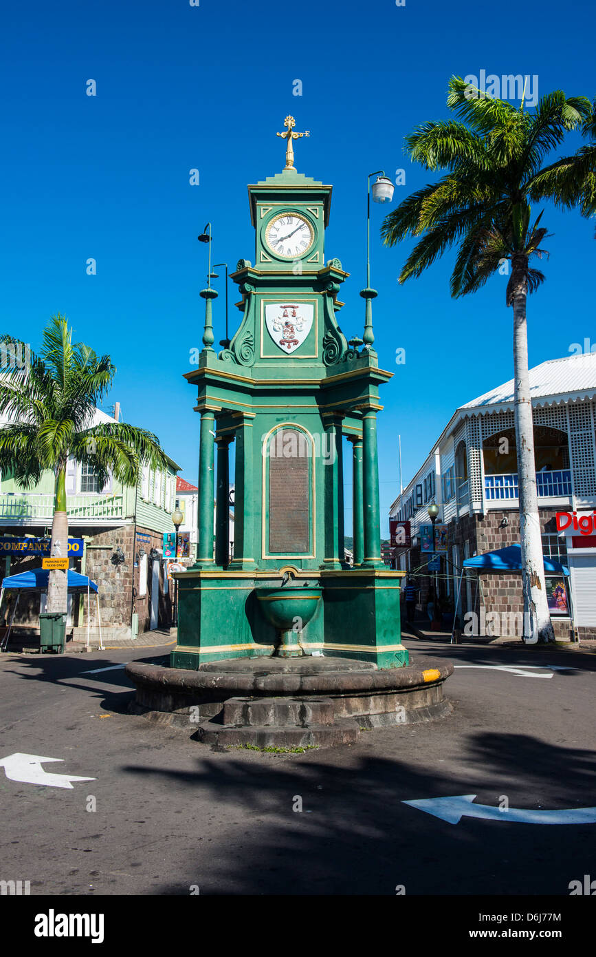 The Circus with the Victorian style Memorial clock, St. Kitts and Nevis, Leeward Islands, West Indies, Caribbean - Stock Image