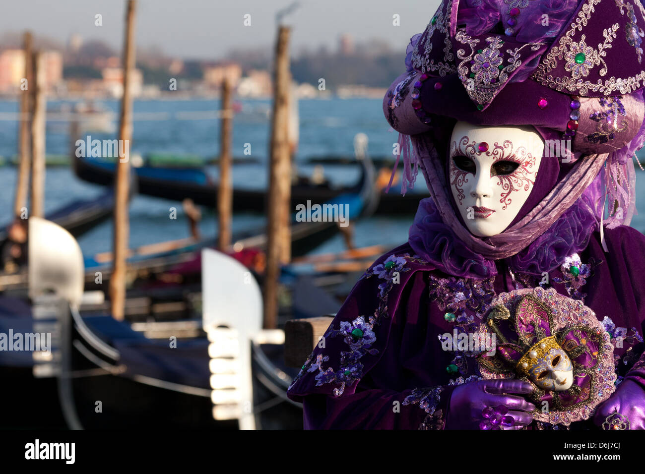 Masks at Venice Carnival in St. Mark's Square, Venice, Veneto, Italy, Europe Stock Photo