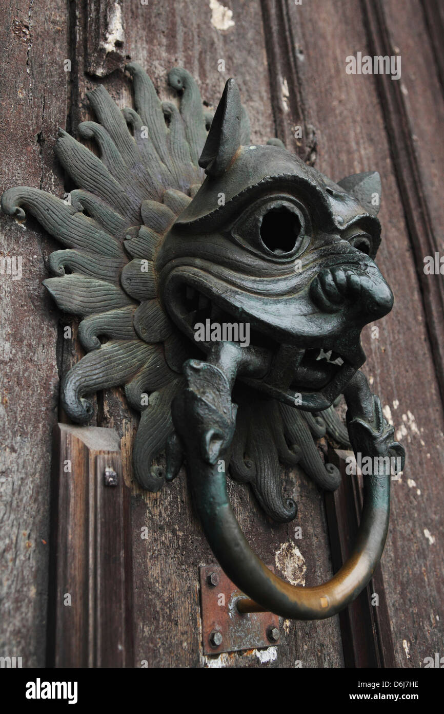 The Sanctuary Knocker, for asylum in medieval times, Durham Cathedral, UNESCO World Heritage Site, Durham, England, - Stock Image