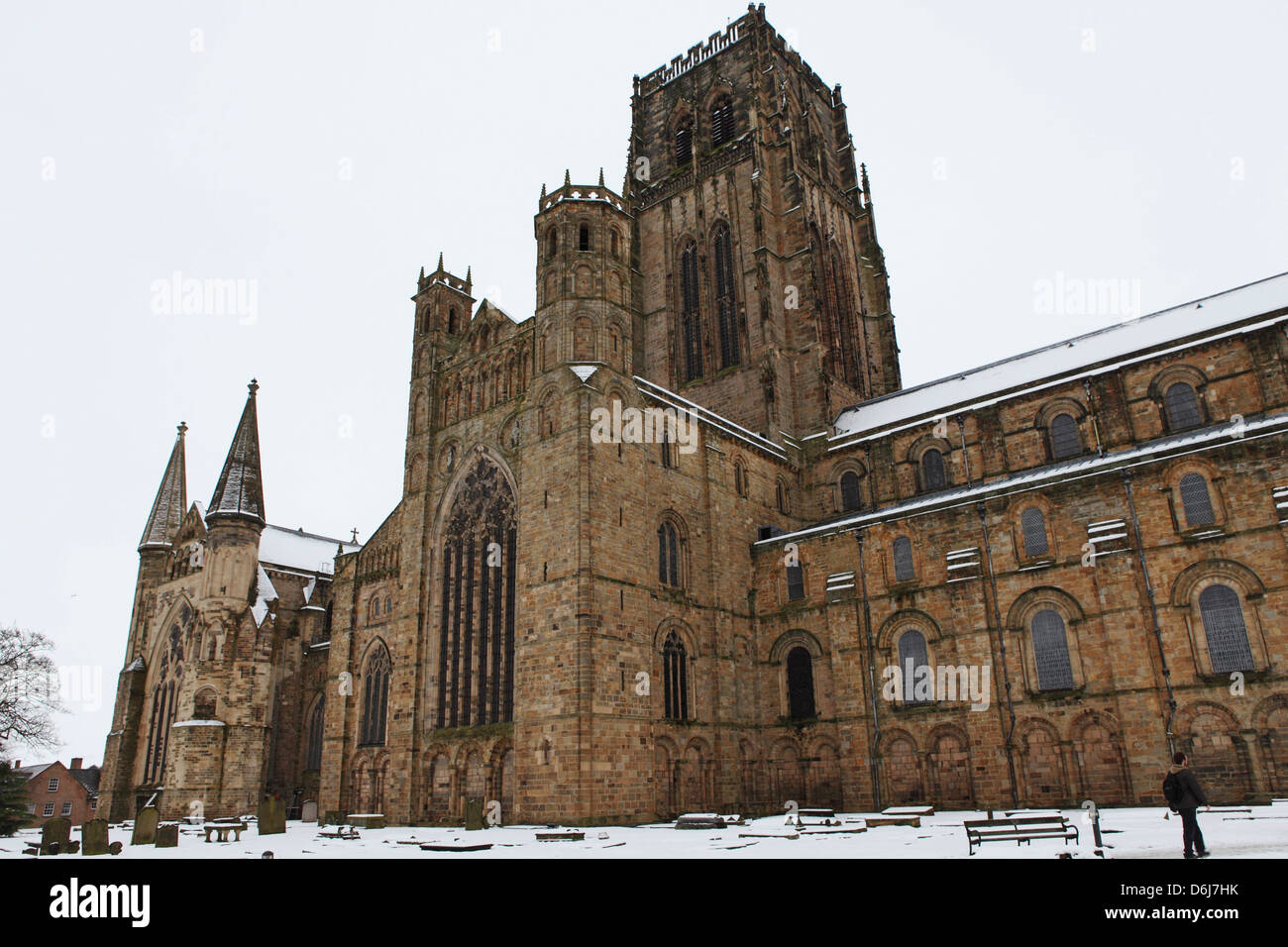 Durham Cathedral, UNESCO World Heritage Site, in snow on a winter's day in Durham, County Durham, England, UK, - Stock Image