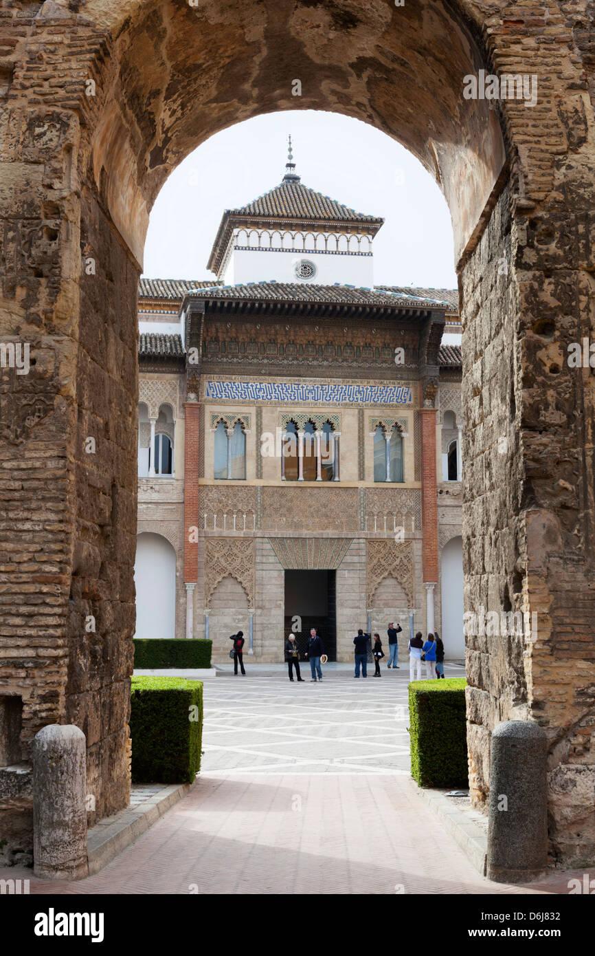 Patio de la Monteria and Palace of Pedro 1st, The Alcazar, UNESCO World Heritage Site, Seville, Andalucia, Spain, - Stock Image