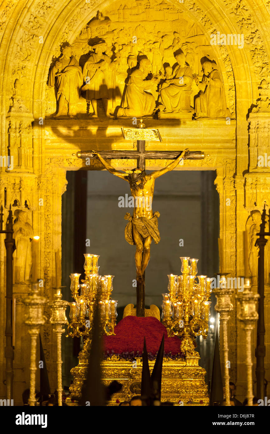 Semana Santa (Holy Week) float outside Seville Cathedral, Seville, Andalucia, Spain, Europe - Stock Image