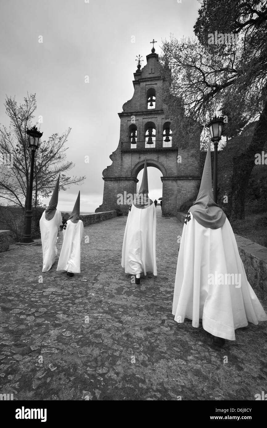 Penitents during Semana Santa (Holy Week), Aracena, Huelva, Andalucia, Spain, Europe - Stock Image
