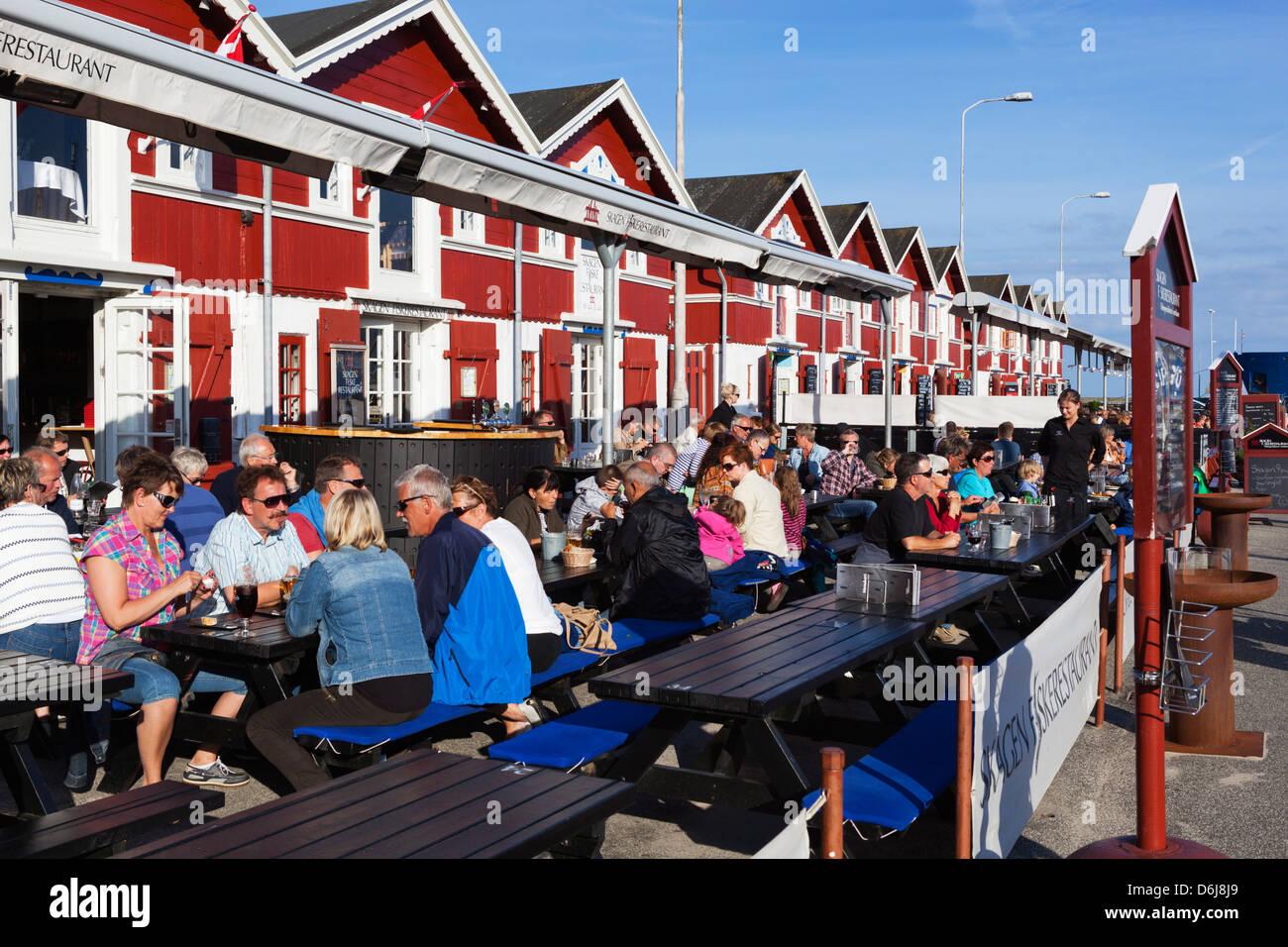 Harbourside seafood restaurants, Skagen, Jutland, Denmark, Scandinavia, Europe - Stock Image