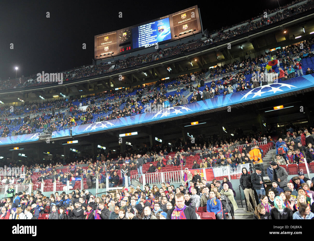 General view of stadium prior to the Champions League round of sixteen second leg soccer match between FC Barcelona Stock Photo