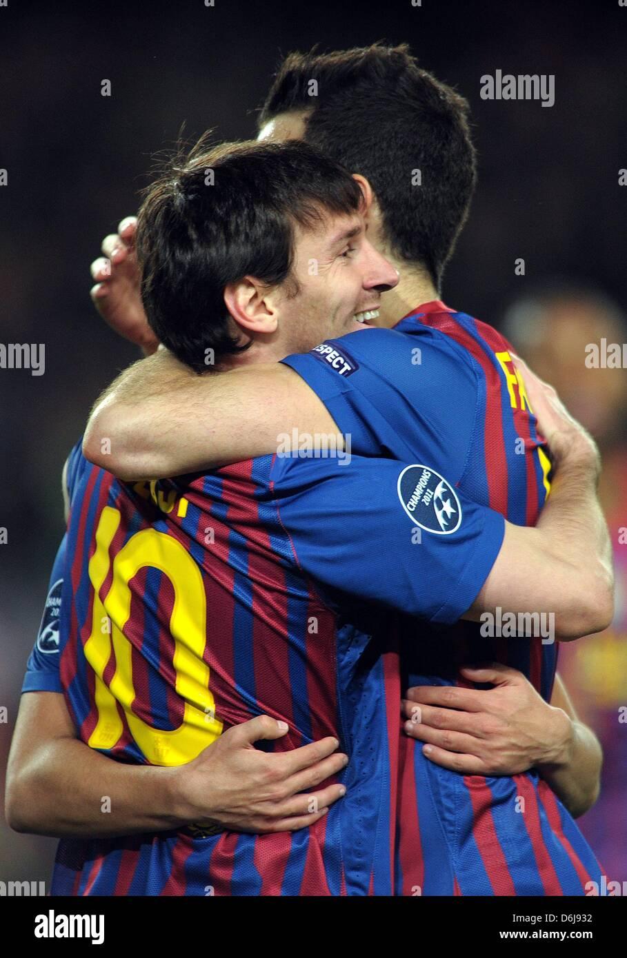Barcelona S Lionel Messi L Celebrates With Team Mate Cesc Fabregas Stock Photo Alamy